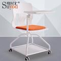 塑优培训椅 360度旋转可收木质写字板 带脚轮会议椅子 高档海棉软座听课椅