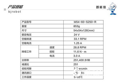 智能佳 DYNAMIXEL Pro M54-60-S250-R工业级数字舵机 116KG扭距